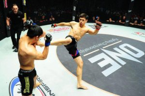 Peter Davis delivers a brutal kick in his ONE FC clash with Quek Kim Hock.