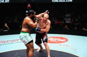 Tony Johnson and Chris Lokteff in their Heavyweight tussle at ONE FC 12: Warrior Spirit.