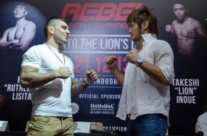 Rob Lisita (left) faces off against Takeshi Inoue (right) at a press conference held in Singapore.