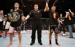 Cung Le (right) in his KO win over Rich Franklin in Macau (Photo Courtesy of Cung Le Facebook Account)