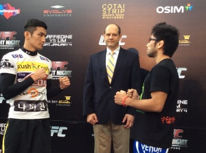 Kang (left) kicks off the main card on Saturday in match-up with Shimizu (right)