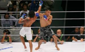 Nakamura locking horns with current UFC fighter Adriano Martins at DREAM 6.