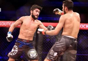 Suman Mokhtarian (left), in his tussle at Rebel FC 1: Into the Lion's Den in December last year.